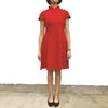 'Red Ogee' Jacquard Qipao Dress