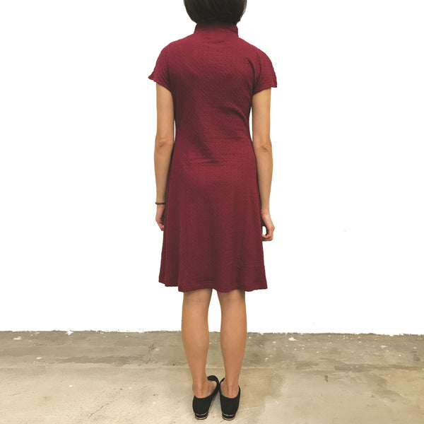 'Burgundy Ogee' Jacquard Qipao Dress