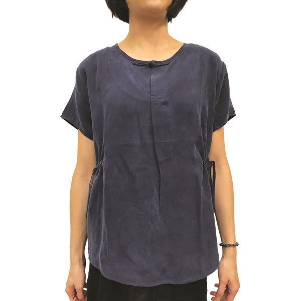 Chinese Button Top With Waist Drawstrings, Navy