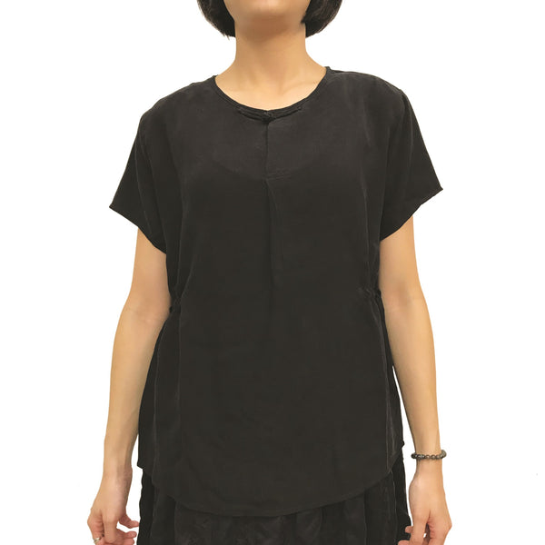 Chinese Button Top With Waist Drawstrings, Black
