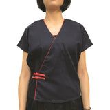Chinese Button Top with Piping, Navy