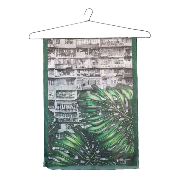 'Yaumati Jungle' small silk chiffon scarf