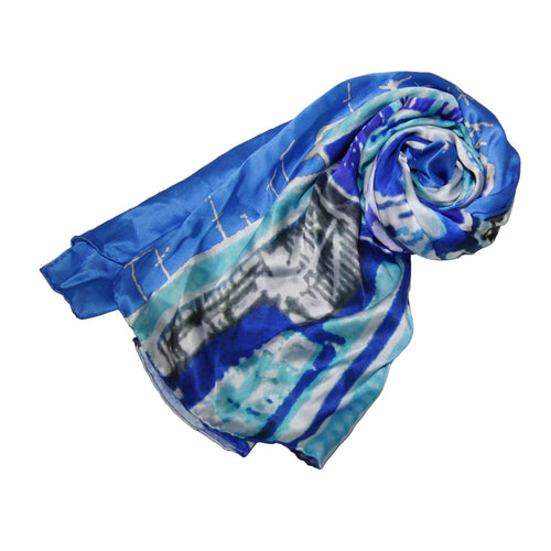 'Alex Croft x G.O.D. graffiti wall'  Silk Scarf (blue)