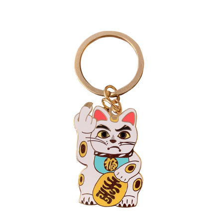 'Angry Cat' Keychain - Black with Mint Green Collar