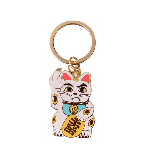 'Angry Cat' Keychain - White with Mint Green Collar