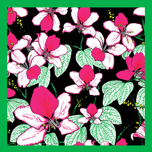 'Bauhinia Black' Silk Pocket Square