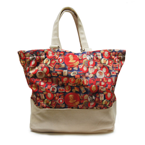 'Mao's Badges' large canvas tote bag