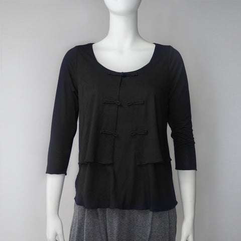 'Chinese buttons' 2 in 1 top (black)