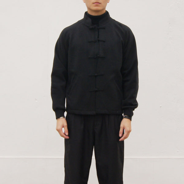 Chinese Button Raglan Sleeves Jacket (black)