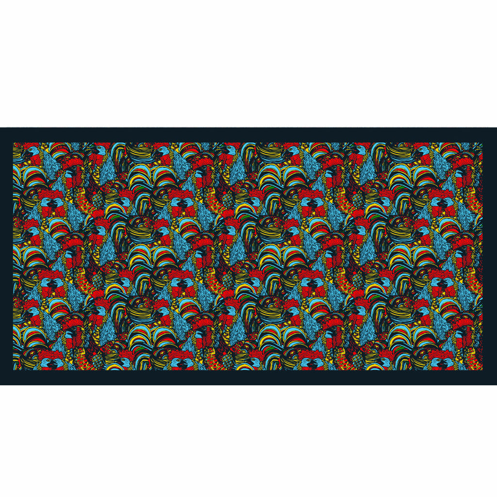 'Congregation of Roosters' silk scarf