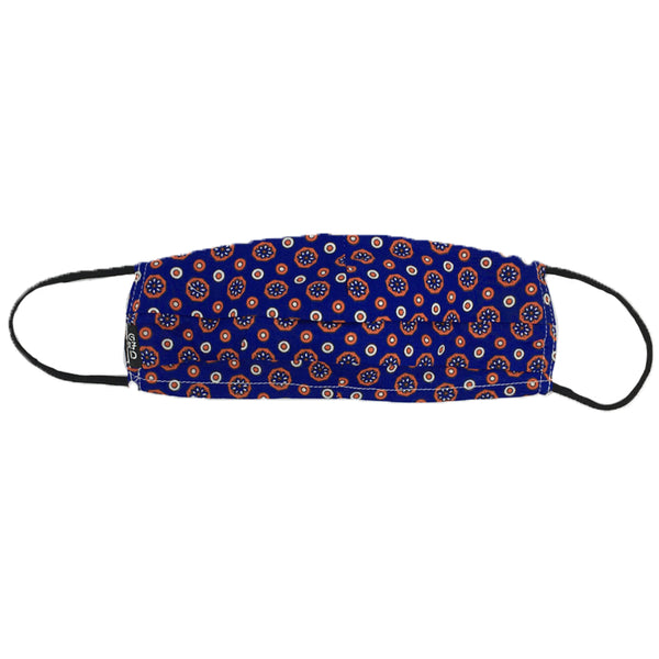 Circled Flower In Blue Pleated Mask