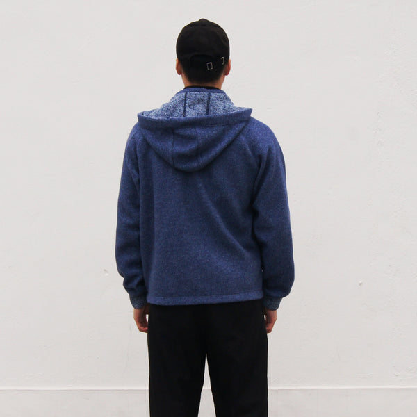 Chinese Collar Hooded Fleece Jacket (blue)