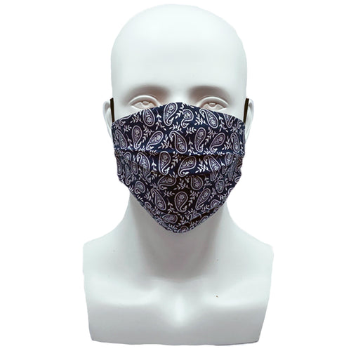 Paisley Navy Blue Pleated Mask