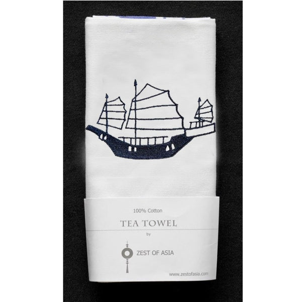 Blue Junk Tea Towel by Zest of Asia