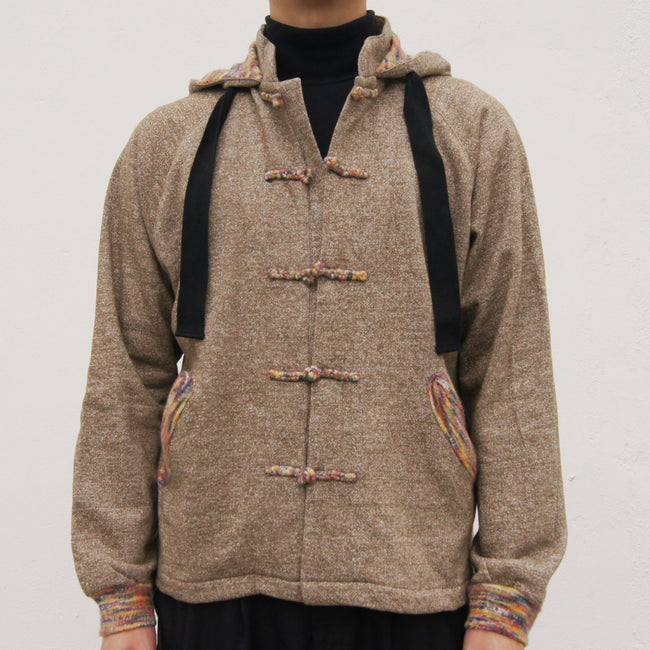 Chinese Collar Hooded Fleece Jacket (brown)
