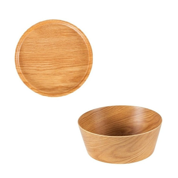 Zicco Round Bowl & Cover, Light Wood