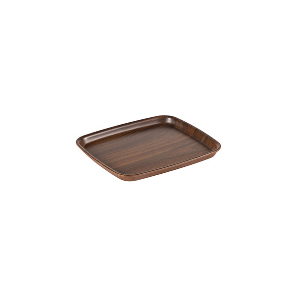 Zicco Square Bowl & Cover, Brown Wood