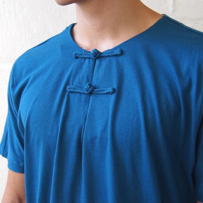 Handcrafted Chinese buttons top (Turquoise Blue)