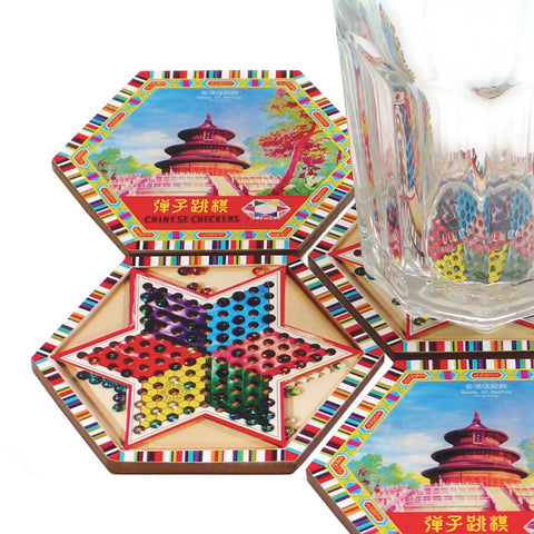 'Chinese Checkers' coaster set