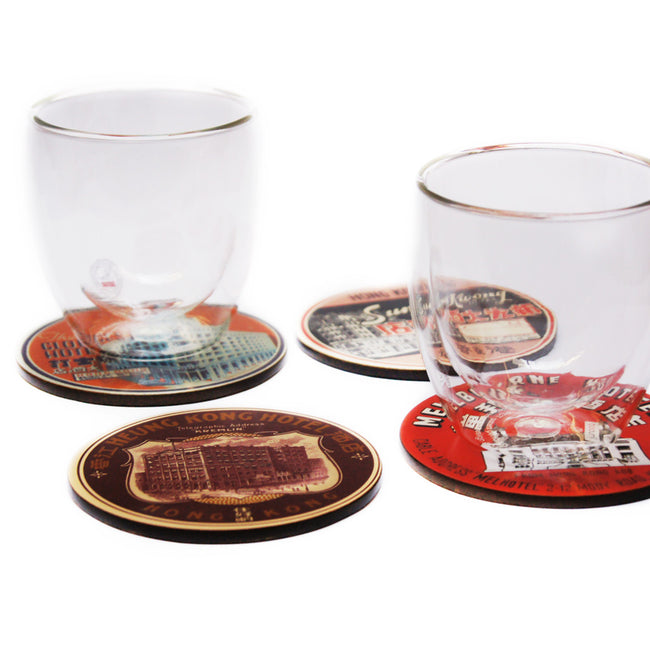 'Vintage Hotels' coaster set of 4