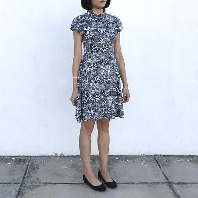 'Yung Chung' Printed Qipao dress (Navy Rainforest)