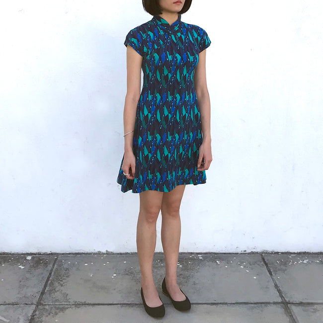 'Yung Chung' Printed Qipao dress (Green/Blue Gems)