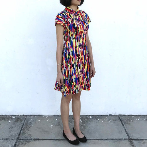 'Yung Chung' Printed Qipao dress (Rainbow Stroke)