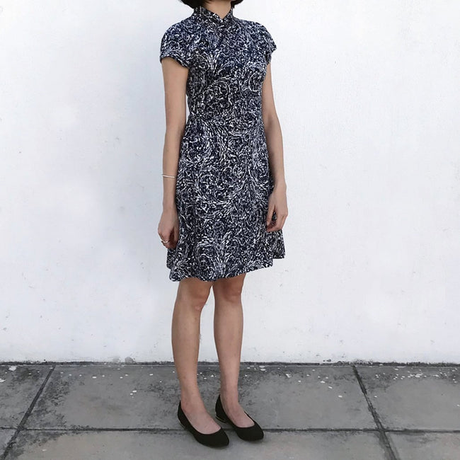 'Yung Chung' Printed Qipao dress (Spiral/Grey)
