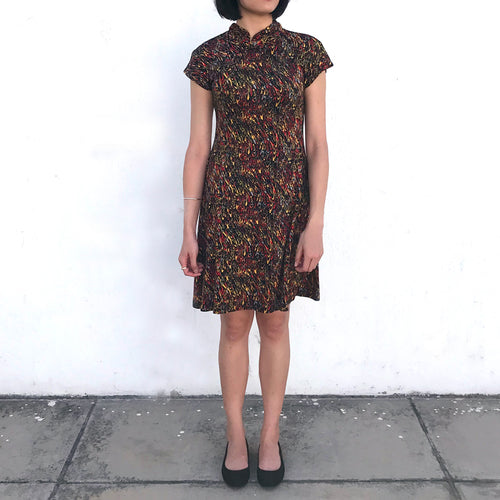 'Yung Chung' Printed Qipao dress (Red Pheonix)