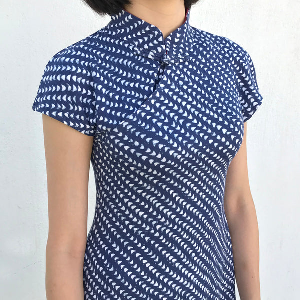 'Yung Chung' Printed Qipao dress (Blue Arrow)