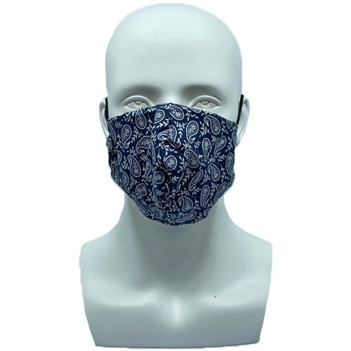 Small Paisley Navy Snouted Mask with Adjustable String (Mesh layer)