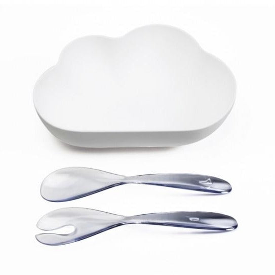 Qualy Cloud Salad bowl & Clear (Spoon/Fork)