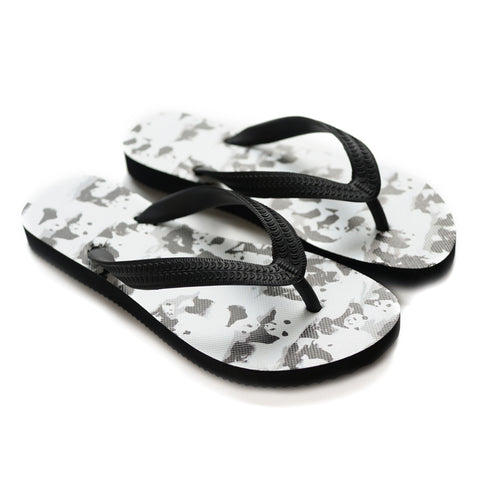 'Panda-monium' Flip flops (Black & white) | Goods of Desire