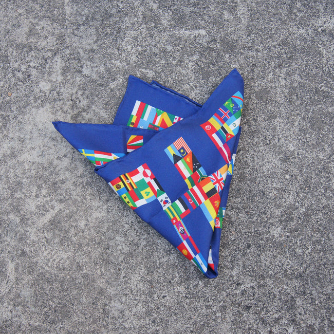 'Double Happiness Flags' Silk Pocket Square