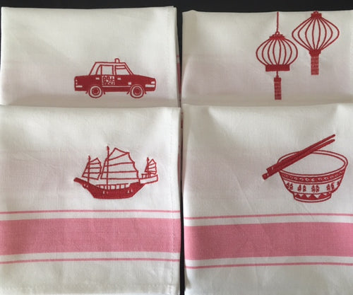 Red Embroidered Napkins by Zest of Asia