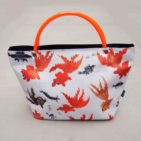 Mini tote with Neon handle - Gold fish