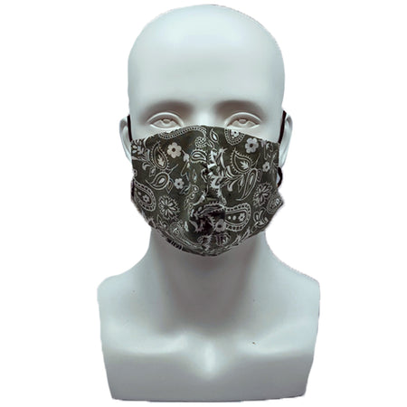 Paisley Army Green Pleated Mask