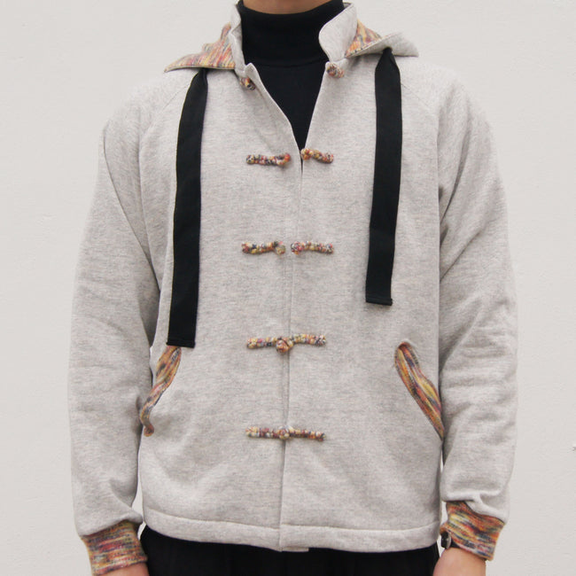Chinese Collar Hooded Fleece Jacket (grey)