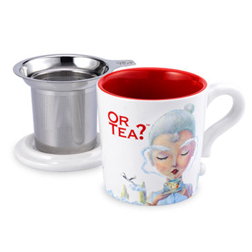 Or Tea? Mug With Lid & Tea Strainer, White