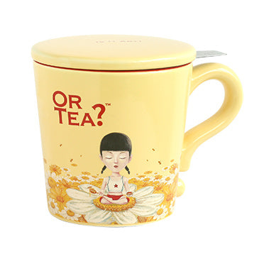Or Tea? Mug With Lid & Tea Strainer, Ivory