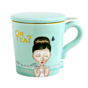 Or Tea? Mug With Lid & Tea Strainer, Turquoise