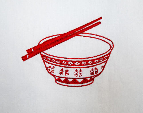 Red Rice Bowl Tea Towel by Zest of Asia