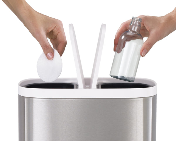 Split Steel Recycler Waste Bin by Joseph Joseph