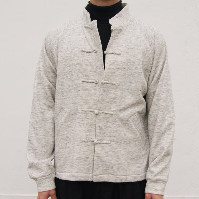 Chinese Button Raglan Sleeves Fleece Jacket (grey)