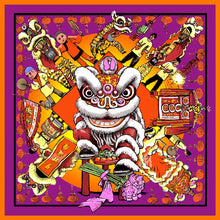 Load image into Gallery viewer, 'Lion Dance' Purple Silk Scarf