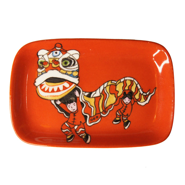 'Lion Dance' handpainted soap dish