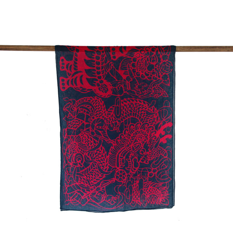 'Lion Dance Papercut' cotton scarf (navy and fuschia)
