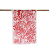 'Lion Dance Papercut' cotton scarf (red and white)