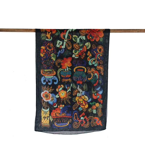'Literati Objects' cotton scarf