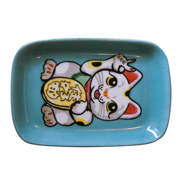 'Lucky Cat' handpainted soap dish